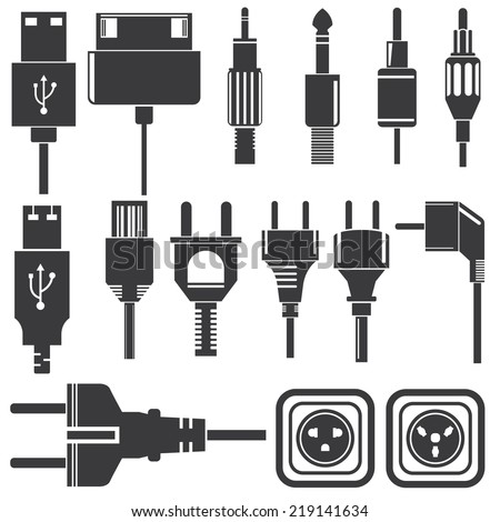 plug icons set, electric plug, usb plug icons, cellphone charging plugs - stock vector