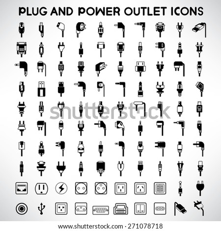 plug icons set, power outlet icons, vector - stock vector