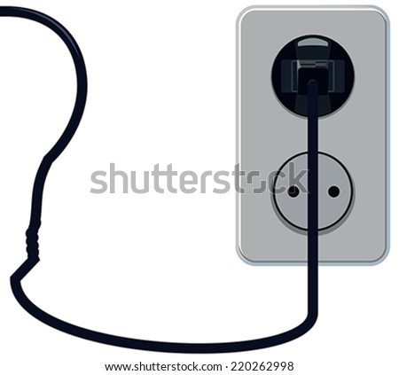Plug in the socket with the bulb wire vvide - stock vector