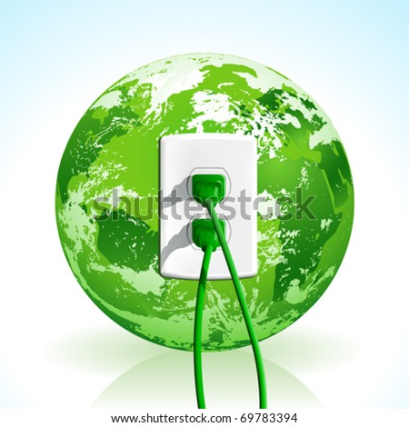 Plug into the energy of Planet Earth! Concept with green plugs and outlet. - stock vector