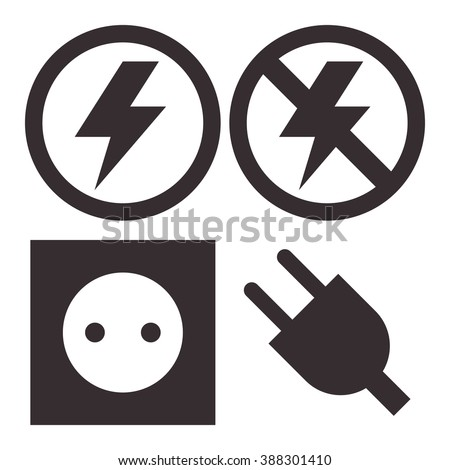 Plug, socket, lightning and no lightning icons isolated on white background - stock vector
