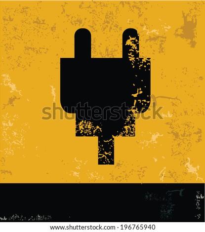 Plug symbol,grunge vector - stock vector