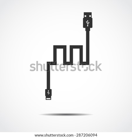 Plug Wire Cable USB Computer  vector illustration - stock vector