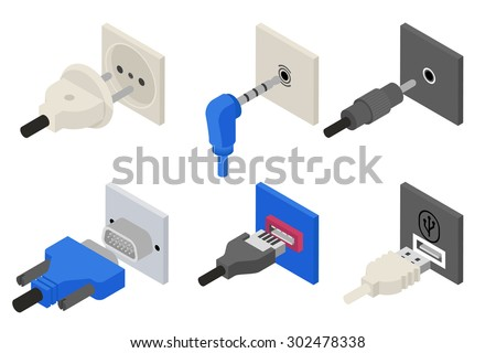 Plugs icons, isometric 3d vector. Power and electric, usb socket, connection cable, connect wire, connector vga. Vector illustration - stock vector