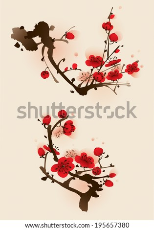 Plum blossom flowers in two different compositions. - stock vector