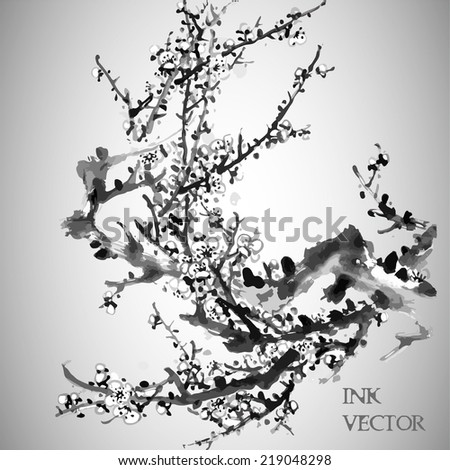 Plum Blossom. Vector illustration. Traditional Chinese Painting.  - stock vector