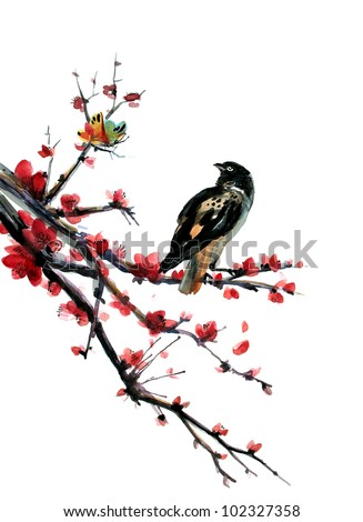 Plum blossom with a Sparrow. Oriental style painting. Vectorized brush painting. - stock vector