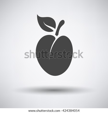 Plum icon on gray background with round shadow. Vector illustration.  - stock vector