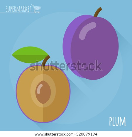 Plum.  Long shadow flat design vector icon.
