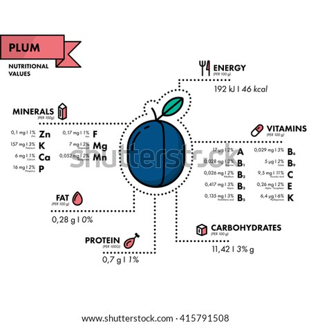 Plum - nutritional information. Healthy diet. Simple flat infographics with data on the quantities of vitamins, minerals, energy and more.