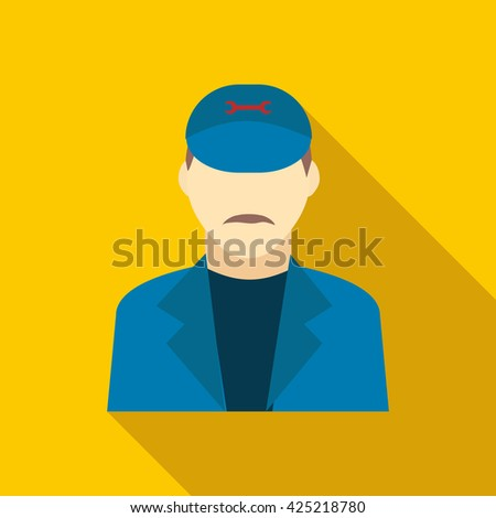 Plumbe in a blue uniform icon, flat style - stock vector