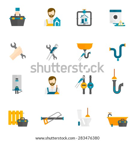 Plumber bathroom and toilet repair and maintenance flat icons set isolated vector illustration - stock vector