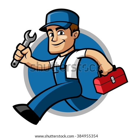 Plumber, he is running and carries a spanner in his hand - stock vector