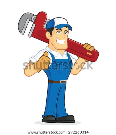 Plumber holding a huge pipe wrench - stock vector