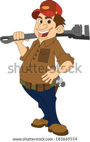 Plumber Holding Big Wrench - stock vector