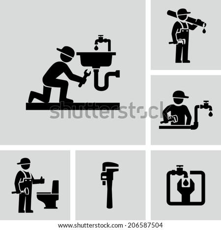 Plumber icon - stock vector