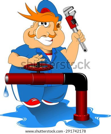 Plumber in blue overalls and red cap, vector - stock vector