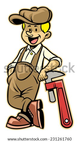 plumber lean over the plumb wrench - stock vector