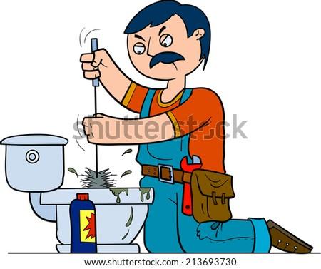 Plumber repairing a toilet - stock vector