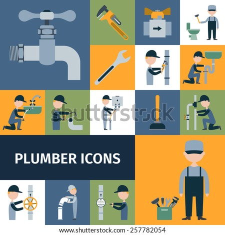 Plumber tools equipment and accessories decorative icons set isolated vector illustration - stock vector