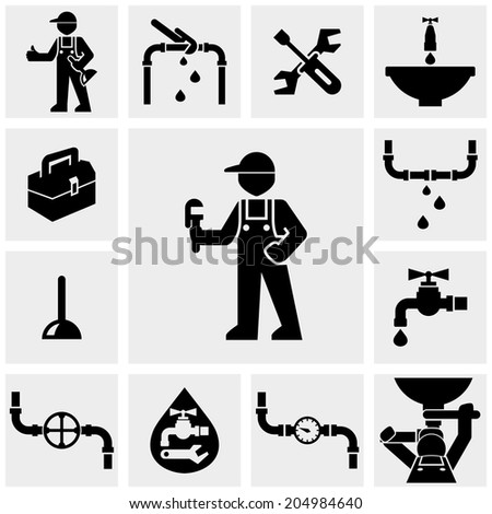 Plumber vector icons set on gray.  - stock vector