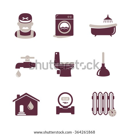 Plumbing and engineering icons set - stock vector