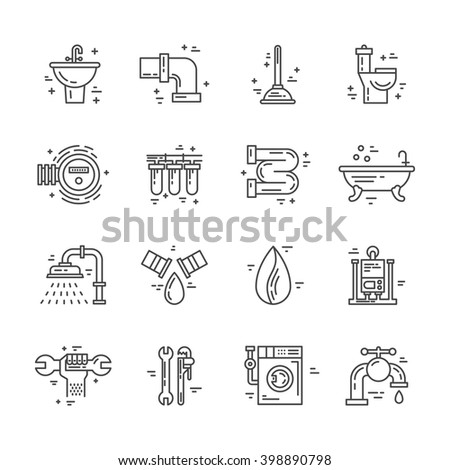 Plumbing and handyman service symbols made in line style vector. Vector collection of plumbing icons. Modern illistrations of pipe, leak, faucet fixing and other repair services. - stock vector