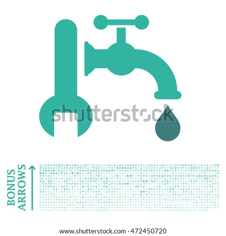 Plumbing icon with 1200 bonus arrow and direction pictograms. Vector illustration style is flat iconic bicolor symbols, cobalt and cyan colors, white background.