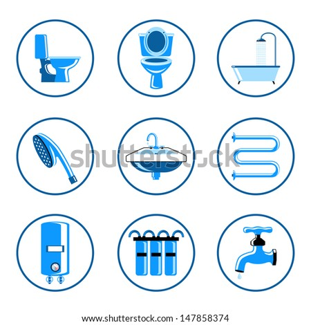 Plumbing icons set - stock vector
