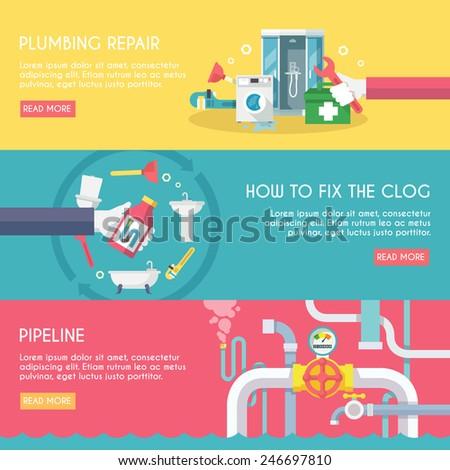 Plumbing repair fix the clog pipeline horizontal banner set isolated vector illustration - stock vector