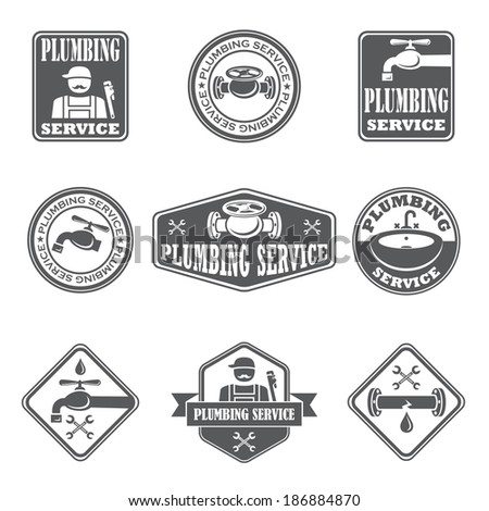 Plumbing service badges with water pipe plumber and tools isolated vector illustration - stock vector