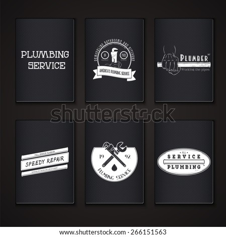 Plumbing service. Home repairs. Repair and maintenance of buildings. Grunge Effect. Set of Typographic Badges. Flat vector illustration
