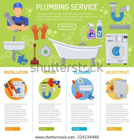 Plumbing Service Installation and Repair infographics with Plumber, Tools and Device Flat Icons Vector illustration.