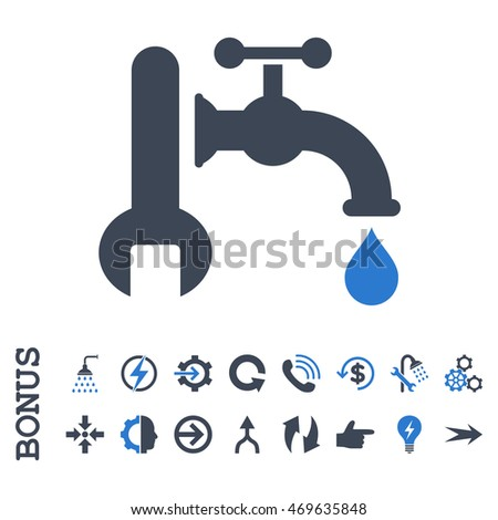 Plumbing vector bicolor icon. Image style is a flat pictogram symbol, smooth blue colors, white background.