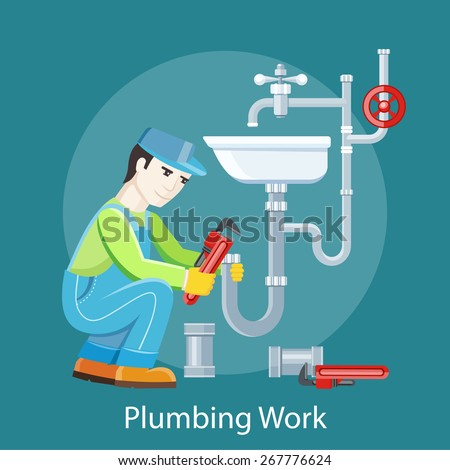 Plumbing work. Sanitary works. Plumber and wrench. Engineer character. Plumber repairing a pipe under a sink. Flat icon modern design style concept  - stock vector