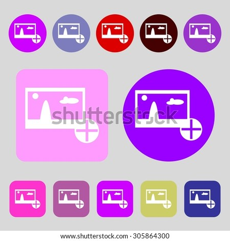Plus, add File JPG sign icon. Download image file symbol.12 colored buttons. Flat design. Vector illustration - stock vector