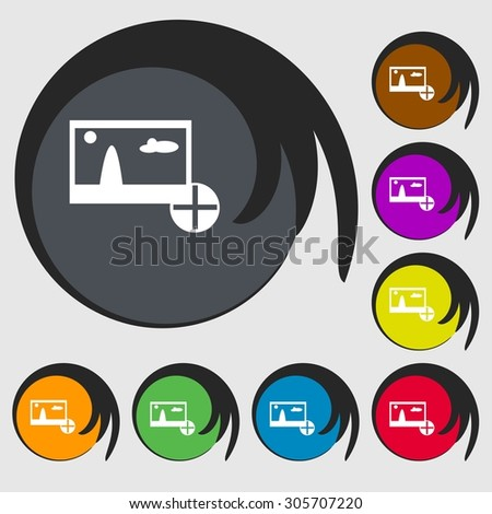 Plus, add File JPG sign icon. Download image file symbol. Symbols on eight colored buttons. Vector illustration - stock vector