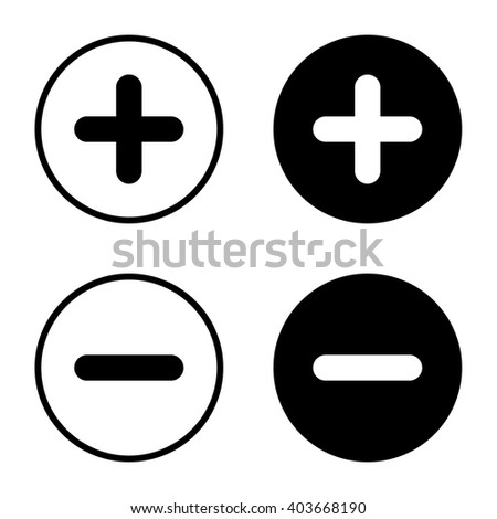 Plus and minus icon set . Vector illustration