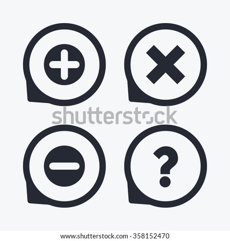 Plus and minus icons. Delete and question FAQ mark signs. Enlarge zoom symbol. Flat icon pointers.