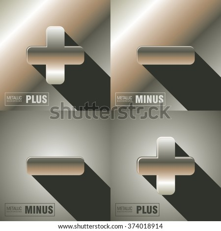 plus and minus icons. polished metallic texture. vector illustration - stock vector