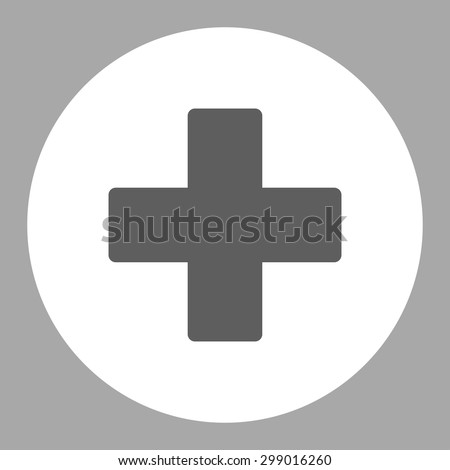 Plus icon from Primitive Round Buttons OverColor Set. This round flat button is drawn with dark gray and white colors on a silver background. - stock vector