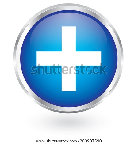 plus icon glossy button - stock vector