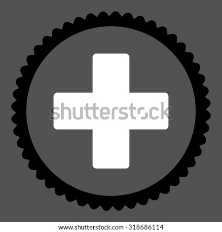 Plus round stamp icon. This flat vector symbol is drawn with black and white colors on a gray background. - stock vector