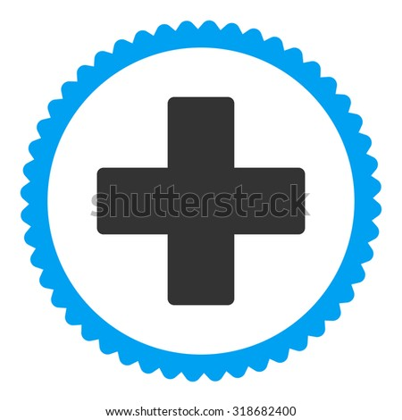 Plus round stamp icon. This flat vector symbol is drawn with blue and gray colors on a white background. - stock vector