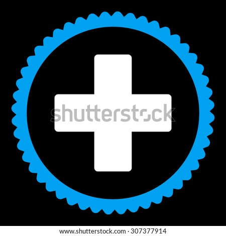 Plus round stamp icon. This flat vector symbol is drawn with blue and white colors on a black background. - stock vector