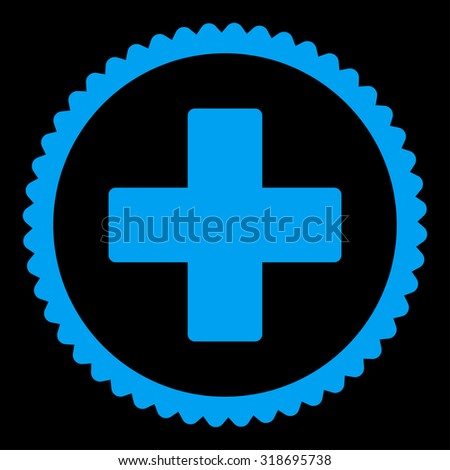 Plus round stamp icon. This flat vector symbol is drawn with blue color on a black background. - stock vector