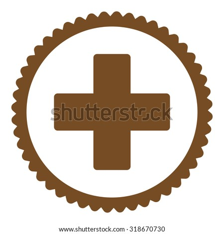 Plus round stamp icon. This flat vector symbol is drawn with brown color on a white background. - stock vector