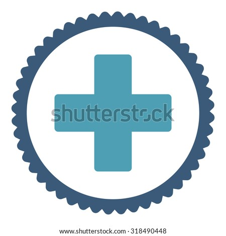 Plus round stamp icon. This flat vector symbol is drawn with cyan and blue colors on a white background. - stock vector