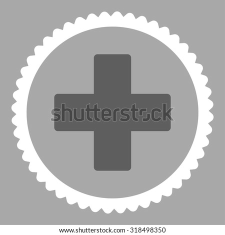 Plus round stamp icon. This flat vector symbol is drawn with dark gray and white colors on a silver background. - stock vector