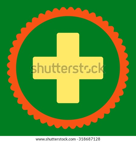 Plus round stamp icon. This flat vector symbol is drawn with orange and yellow colors on a green background. - stock vector